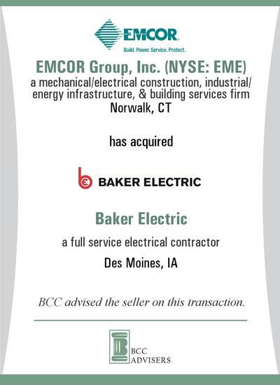 EMCOR Group, Inc. (NYSE: EME) / Baker Electric